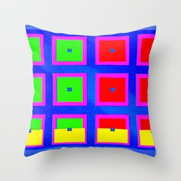 Digital Abstract with red squares on blue Throw Pillow
