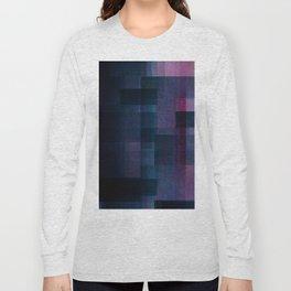 Dark Purple Geometric Colourful Pattern Layers Grid Quilt Fuzzy Texture Long Sleeve T-shirt