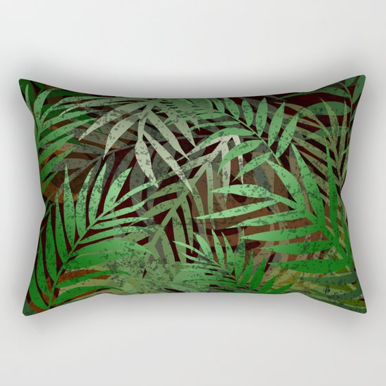 TROPICAL GREEN LEAVES BROWN B. Rectangular Pillow