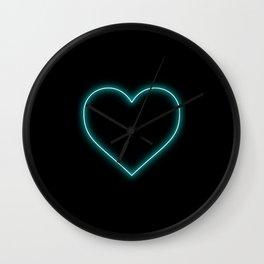 Aqua Blue Neon Valentines Love Heart Wall Clock