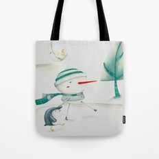 Snowman and friend Tote Bag