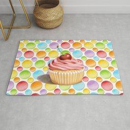 Birthday Cupcake Polka Dots Rug