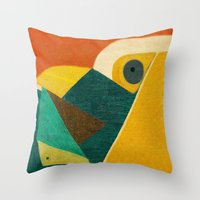 Throw Pillows featuring Crazy Seagull Fisher by Fernando Vieira