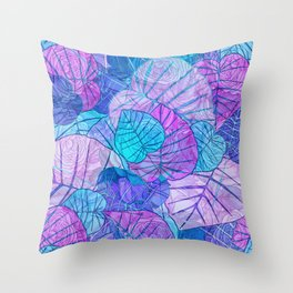 Leaves in Rosy Background Throw Pillow