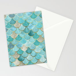 Moroccan Mermaid Fish Scale Pattern, Aqua,Teal Stationery Cards