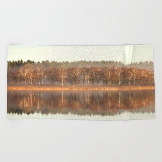Foggy Reflection Beach Towel