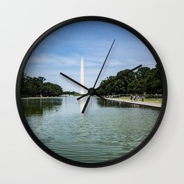 Washington Monument at the Reflecting Pool near Lincoln Memorial on National Mall, DC Wall Clock