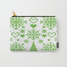 Christmas Cross Stitch Embroidery Sampler Green And White Carry-All Pouch