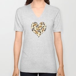 Adorable Racoon Friends, Animal Pattern in Nature Colors of Grey and Brown with Paw Prints Unisex V-Neck