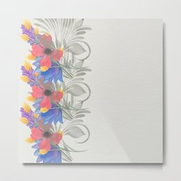 Bold Watercolor Floral III - Sophisticated large scale charming print on white Metal Print