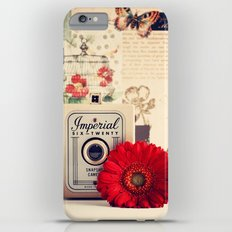 Retro Camera and Red Flower (Retro and Vintage Still Life Photography) Slim Case iPhone 6s Plus