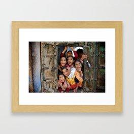 School kids in door Framed Art Print