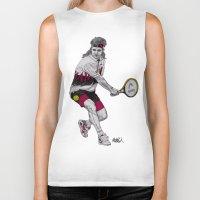 tennis Biker Tanks featuring Tennis Agassi by Paul Nelson-Esch Art