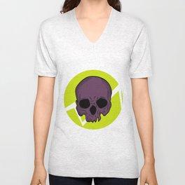 skull purple Unisex V-Neck