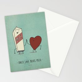 only love beats milk Stationery Cards