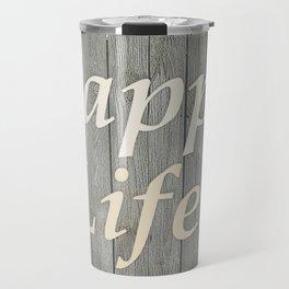 Happy Life Letters Shabby Style Poster Travel Mug