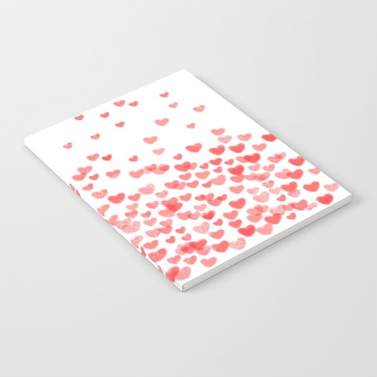 Hearts - Valentines Glitter Hearts in pink on white background for trendy girls valentines day Notebook
