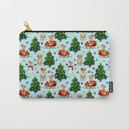 Blue Christmas - From Corgis, Santa And Christmas Trees Carry-All Pouch