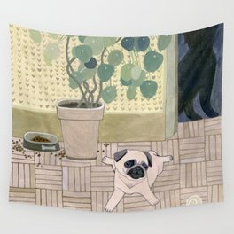Pug Puppy Playing Wall Tapestry
