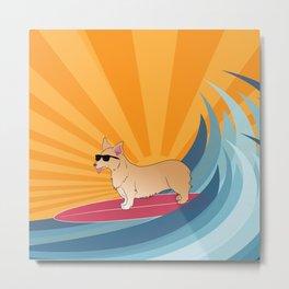 Surfing corgi Metal Print