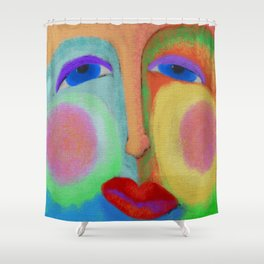 Put on a Happy Face Abstract Digital Painting Shower Curtain