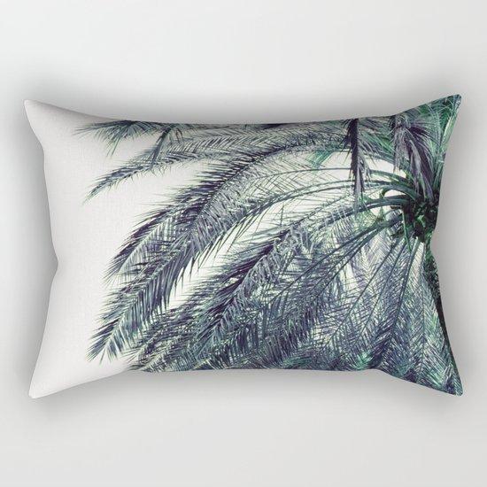 Teal Palm Tree Rectangular Pillow