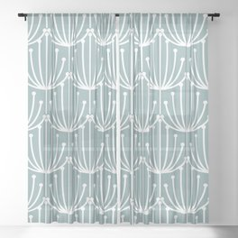 Retro Art, Floral Prints, Light Teal Sheer Curtain