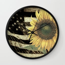 Rustic Sunflower Flower on Flag Country Art Cottage Chic A050 Wall Clock