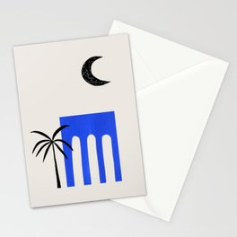 Ultramarine Blue Minimalist Modern Mid Century Ancient Ruins Architecture Moon Lit Palm Trees by Ejaaz Haniff Stationery Cards