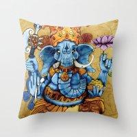 ganesh Throw Pillows featuring Ganesh by RICHMOND ART STUDIO