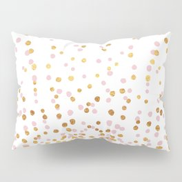 Floating Dots - Pink and Gold on White Pillow Sham