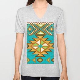 Native Aztec Tribal Turquoise Rug Pattern Unisex V-Neck