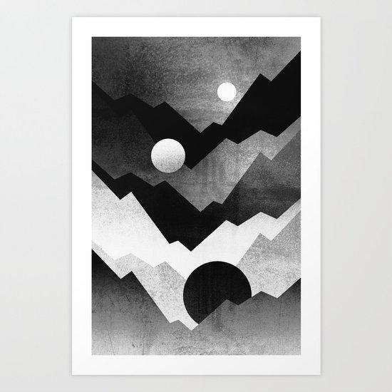 Nightfall / Black & white Art Print
