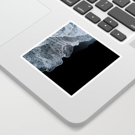 Waves on a black sand beach in iceland - minimalist Landscape Photography Sticker