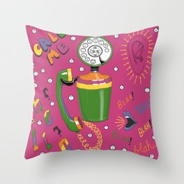 1960s vintage retro rotary telephone, call me! Throw Pillow