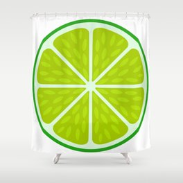 Green lime slice- citrus fruit cut section Shower Curtain