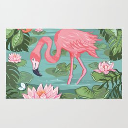 Flamingo and Waterlily Rug