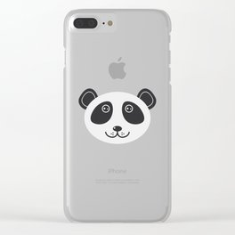 Panda pattern with cute animal on a blue background Clear iPhone Case