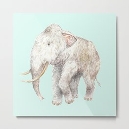 Woolly Mammoth Watercolor Mastodon Painting Metal Print