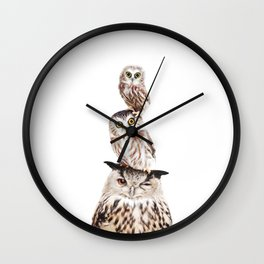 Stacked Owls Wall Clock