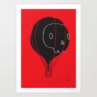 hot air balloon Art Prints featuring Hot Air Balloon Skull by Fupete Art