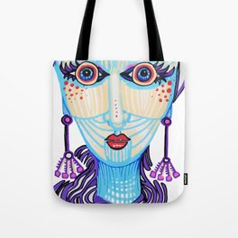 psychedelic colorful portrait drawing hypnotized woman Tote Bag