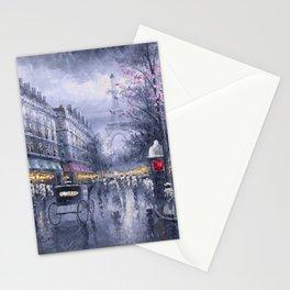 City of Lights, Eiffel Tower, Twilight Paris, France Street Scene landscape painting Stationery Cards