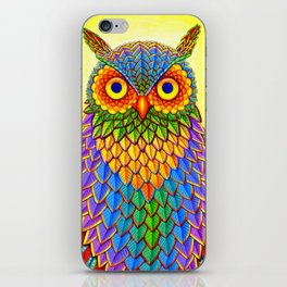 Colorful Rainbow Owl iPhone Skin
