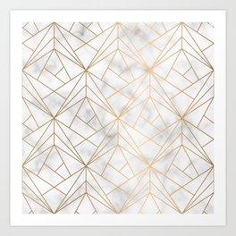 Geometric Gold Pattern on Marble Texture Art Print
