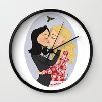 swan queen Wall Clocks featuring Christmas with Swan Queen!  by Yael's Colors