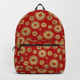 Chinese Coin Pattern Gold on Red Backpack