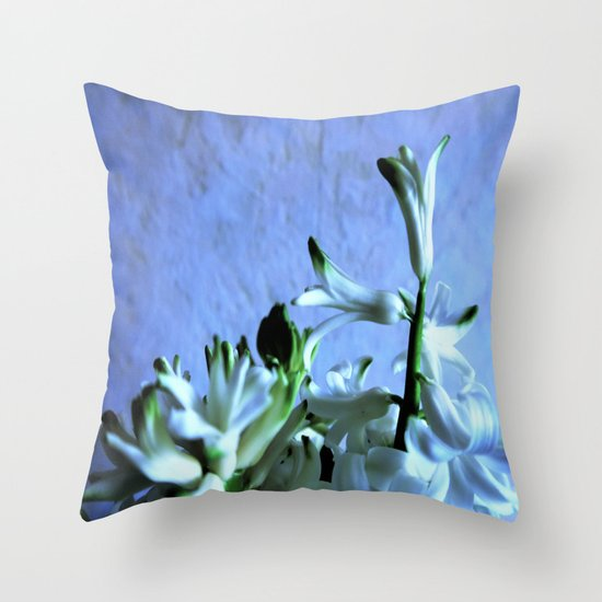 white hyacinthe on light blue background Throw Pillow