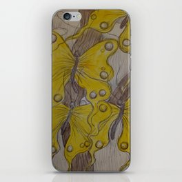 Yellow Abstract Butterflies iPhone Skin