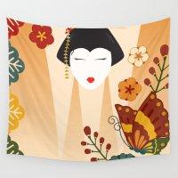 geisha Wall Tapestries featuring Geisha  by Ashley Hay